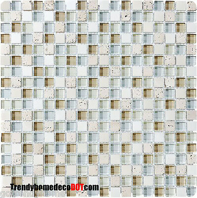 10SF Brown White stone Glass Mosaic Tile kitchen backsplash wall bathroom shower