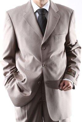 Mens Super 150s 3 Button Tan Stripe Dress Suit 36r Men's Clothing Pl-65713-tan