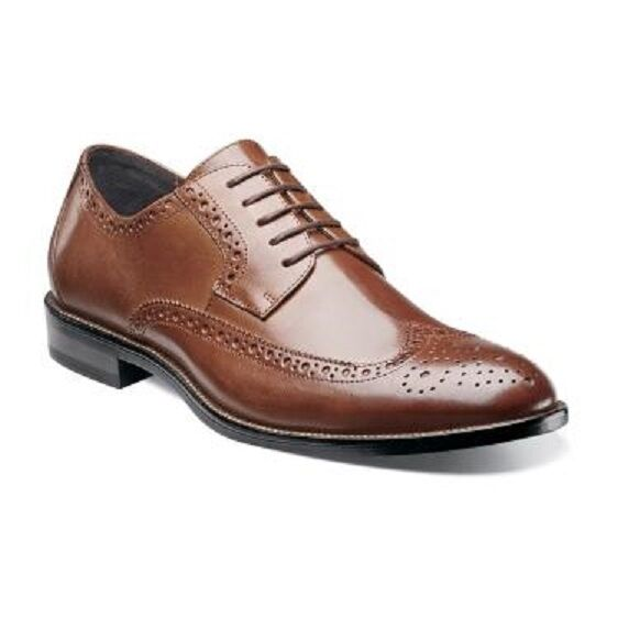 Stacy Adams Mens schuhe Cognac Garrison Wing Tip Lace Up Leather Oxford 24916-221