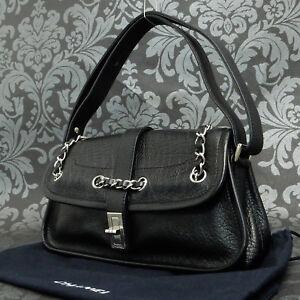 55cb119f3290 Rise-on Vintage CHANEL Calf Skin Black Leather Dinner Shoulder Bag ...