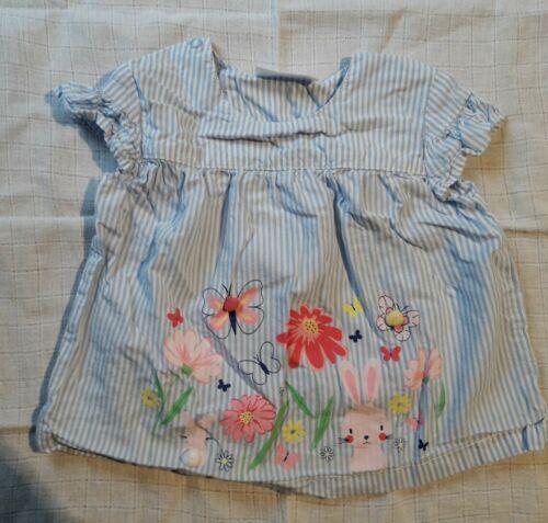 """Baby Oberteil//Bluse//Shirt Gr.74 /""""Ergee/"""" weiß,blau gestreift mit Hase"""
