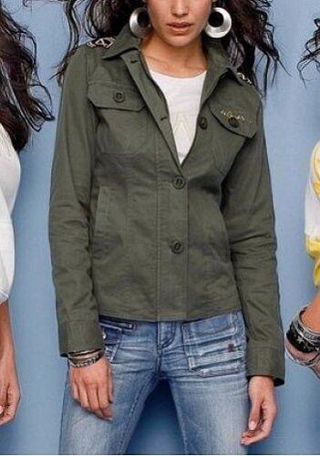 4Wards Jacke Gr.40 NEU Khaki Damen Militär Outdoorjacke Used Stretch Denim