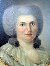 HST Ecole Française XVIII° Portrait DAME DE QUALITE Cadre Bois Doré Ancien