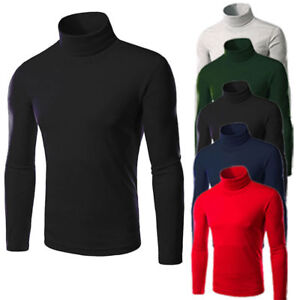 Men-Polo-Roll-Turtle-Neck-Pullover-Knitted-Slim-Fit-Jumper-Top-Sweater-Tee-Shirt