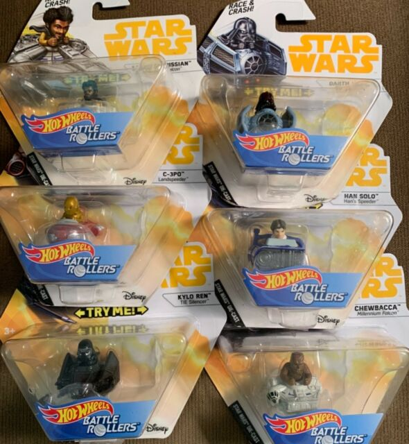 Hot Wheels Disney Star Wars Battle Rollers Set of 6-Chewbacca/Solo/Vader/C-3PO +