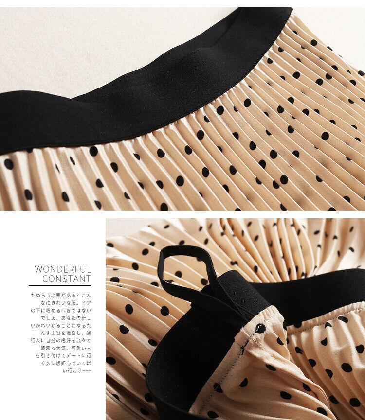 Nueva camiseta para mujer High-End occidental occidental occidental Satén Lunares Falda Plisada Vestido de línea a la moda e9f26a