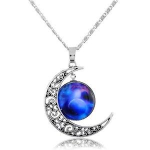 1-Mode-Damen-Halskette-Filigran-Mond-Blau-Rund-Himmel-Anhaenger-48-5cm