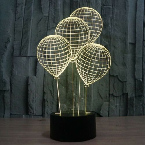 New Balloon 3D Illusion LED Night Light 7 Color Change Table Desk Lamp Xmas Gift