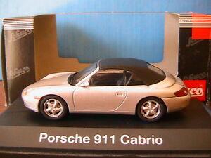 PORSCHE-911-996-CARRERA-CABRIOLET-SOFTTOP-SILVER-SCHUCO-04462-1-43-SILBER-ARGENT