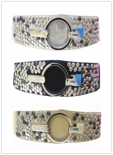 Damen Gürtel Leder Stretch Taillengürtel Hüftgürtel One Size 3 Farben MML-576