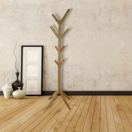 Coat Rack Coat To Floor Wooden Bamboo 8 Hooks 60x60x167cm