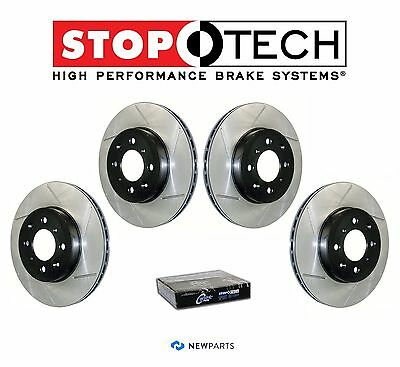 For BMW E46 323 325 Front StopTech Slotted Brake Rotors PQ Metallic Pads Set Kit