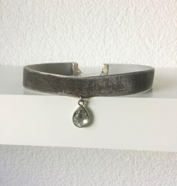 Halsband Halsschmuck Choker Kropfband Samt Trachten Kette grau Dirndl Tropfen