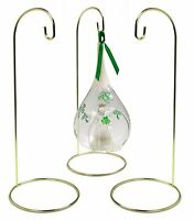 Metal Wire Ornament Stands Display Holder Gold Colored - 12 High - Set Of 3