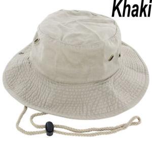 Details about Mens Boonie Bucket Hat Cap Cotton Fishing Hunting Safari  Summer Military Khaki 3923c907ba8