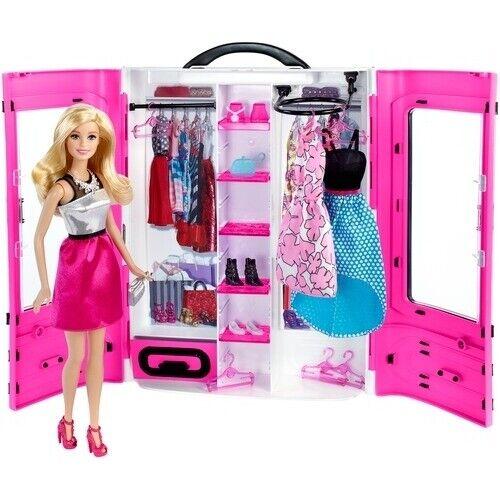 Nuevo Mattel Barbie y rosado Armario Portátil Estilo Moda y Accesorios F   S