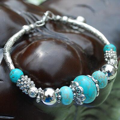 Tibetan Silver Round Turquoise Bead Adjustable Handmade Bangle Bracelet Jewelry