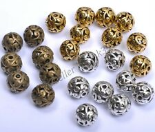 10Pcs Tibetan Silver Round Shaped Heart Hollow Spacer Beads Findings 11mm D3000