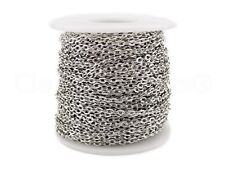 150 Feet Bulk Rolo 4x6mm Link Shiny Silver Color Cable Chain Spool