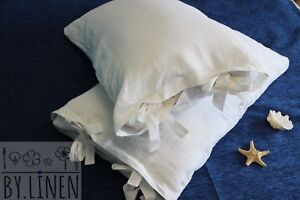 Linen-Pillowcase-Washed-Ties-Closure-Brown-Blue-White-Gray-color