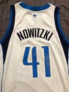 buy online e509c e9cc0 Details about Dirk Nowitzki Signed Jersey (Stitched Dallas Mavericks Home  Uniform)
