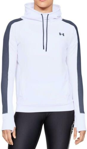 Under Armour Womens Top Funnel Neck White Featherweight Top Gym New 1305498-101