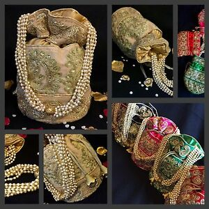 Image Is Loading Bollywood Celebrity Bridal Gold Potli Clutch Dolly Bag