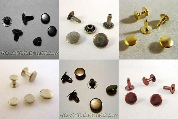 100 Hohlnieten klein 4mm x 5mm silber antik gold platin schwarz alu Nieten 4 mm