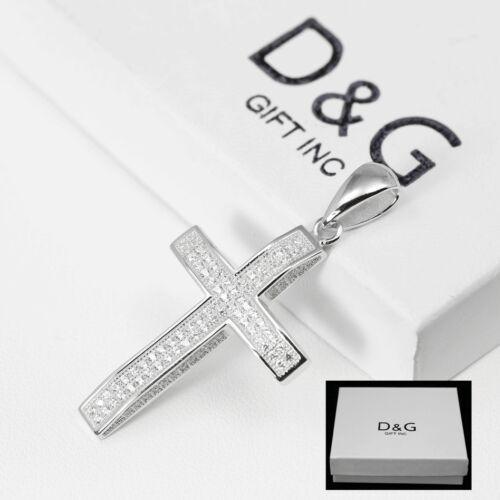 DG Men/'s 925 Sterling-Silver Cross CZ Iced-out.Eternity Pendant Unisex,BOX