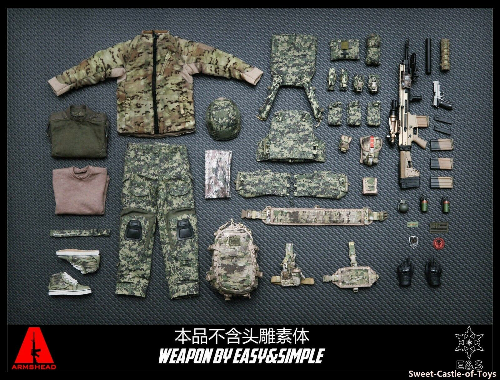 1 6 Armshead Easy Simple Military Action Figure - US Navy Seals Gear Set AES001