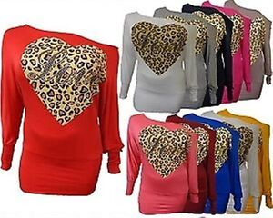 NEW WOMENS LOVE LEOPARD HEART SEQUIN OFF SHOULDER BATWING SLOUCH DRESS TOP 8-16