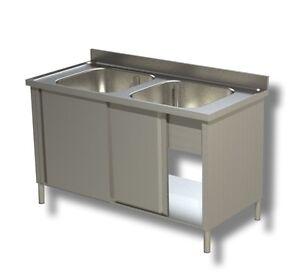 Lavello lavatoio lavandino in acciaio inox 2 vasche su for Lavandino acciaio inox