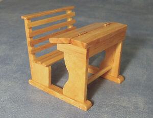 School / Child's Desk, Dolls House Miniatures, wood furniture.