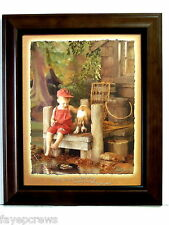 BOY FISHING PICTURE DOG CHILDREN BOYS ROOM BABY BOY FRAMED PRINT 8X10