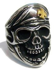 SKULL HEAD IRON CROSS BERET HAT STAINLESS STEEL RING size 7 - S-537 biker  MENS