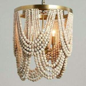Bohemian Hanging Chandelier 4 Light Fixture W Wood Beads Boho Room Decor Ebay