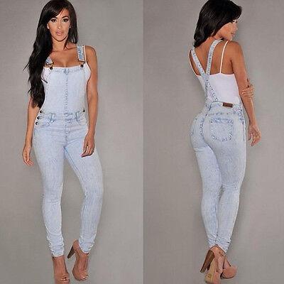 Fahsion Women's Bodycon Jumpsuit Jeans Denim Rompers Overalls Trousers Pants New