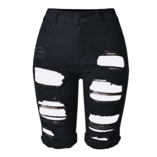 Damen Stretch Kurz Hollow Hose Röhrenhose Jeans Hüfthose Shorts Pants Denim