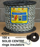Green / White Electric Fence Rope 400m & 100 Ring Insulators
