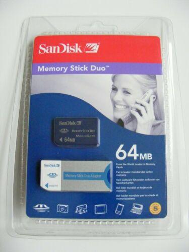 64mb MS Duo//512mb Memory Stick Pro Duo con adaptador tarjeta de memoria SanDisk nuevo