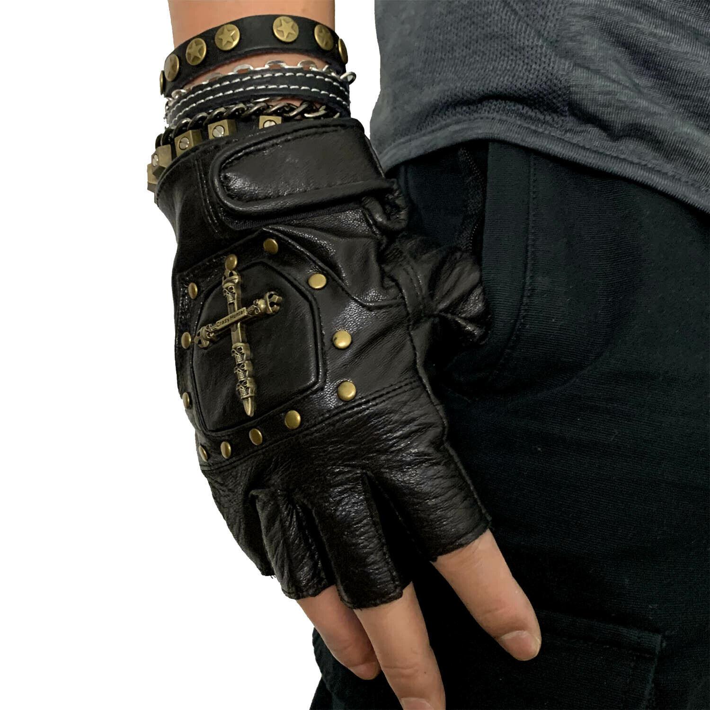 1 Pair Half Finger Real Leather Gloves Studded Men Punk Biker Motorcycle Gloves