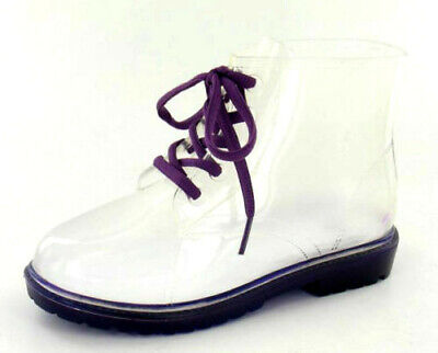 SALE Spot On H5026 Girls Purple Transparent Lace Up PVC Jelly Ankle Wellies | eBay