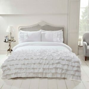 Rapport-034-Flamenco-034-Frills-Ruffles-Spanish-Style-Duvet-Cover-Bedding-Set-White