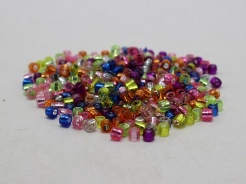 1000 Mixed Color Silver Foil Acrylic Barrel Pony Beads 4X3mm for Kids Craft