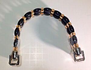 Bags-amp-Totes-Handles-U-Shape-Black-amp-Amber-Bead-Silver-Colored-Acrylic-41-2-x-5