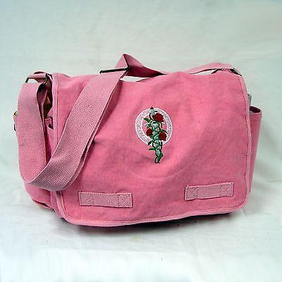 New Vintage Canvas Messenger Bag Pink Rose Dagger Laptop OffWorld Designs