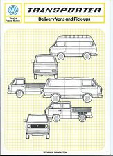 VW Volkswagen Transporter Van Pick-up Technical Data Sheet 1982 Excellent