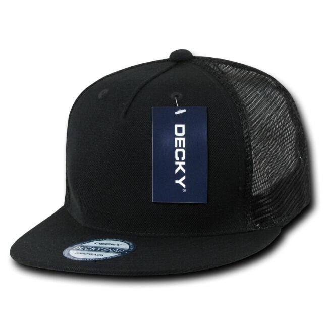 88146835a8feb4 BLACK TRUCKER HAT 5 Panel Flat Bill Mesh Cap vtg retro plain blank snapback