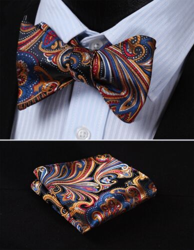 BF431B Blue Orange Floral Woven Men Silk Self Bow Tie handkerchief set