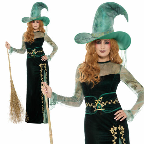 Hat Ladies Witches Halloween Fancy Dress Outfit S-L Emerald Witch Costume